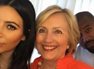 kim kardashian hillary clinton kanye west selfie
