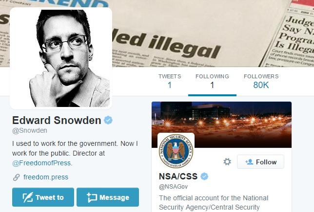 edward snowden twitter following