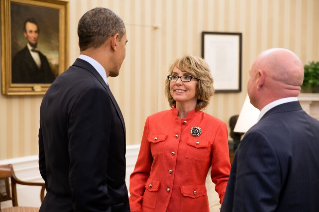 "President Barack Obama greets former Rep. Gabrielle ""Gabby"" Giffords and her husband, former astronaut Mark Kelly, in the Oval Office after they testified at a Senate Judiciary Committee hearing on gun violence, Jan. 30, 2013. (Official White House Photo by Pete Souza) This official White House photograph is being made available only for publication by news organizations and/or for personal use printing by the subject(s) of the photograph. The photograph may not be manipulated in any way and may not be used in commercial or political materials, advertisements, emails, products, promotions that in any way suggests approval or endorsement of the President, the First Family, or the White House."