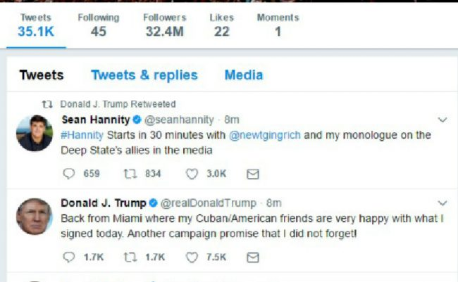 hannity trump retweetedited