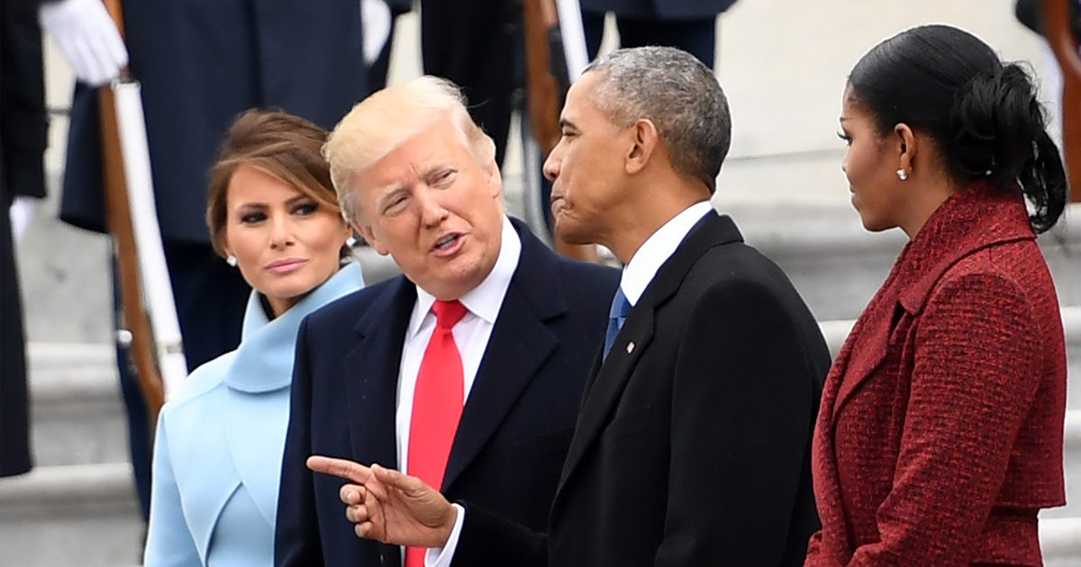 Former President Barack Obama and Michelle Obama say goodbye to President Donald Trump and First Lady Melania Trump before departing the US Capitol after inauguration ceremonies at the US Capitol in Washington, DC, on January 20, 2017.