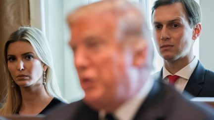 President Donald Trump alongside his daughter, Ivanka Trump and her husband, Senior White House Adviser Jared Kushner during a Cabinet Meeting in the Cabinet Room of the White House October 2017