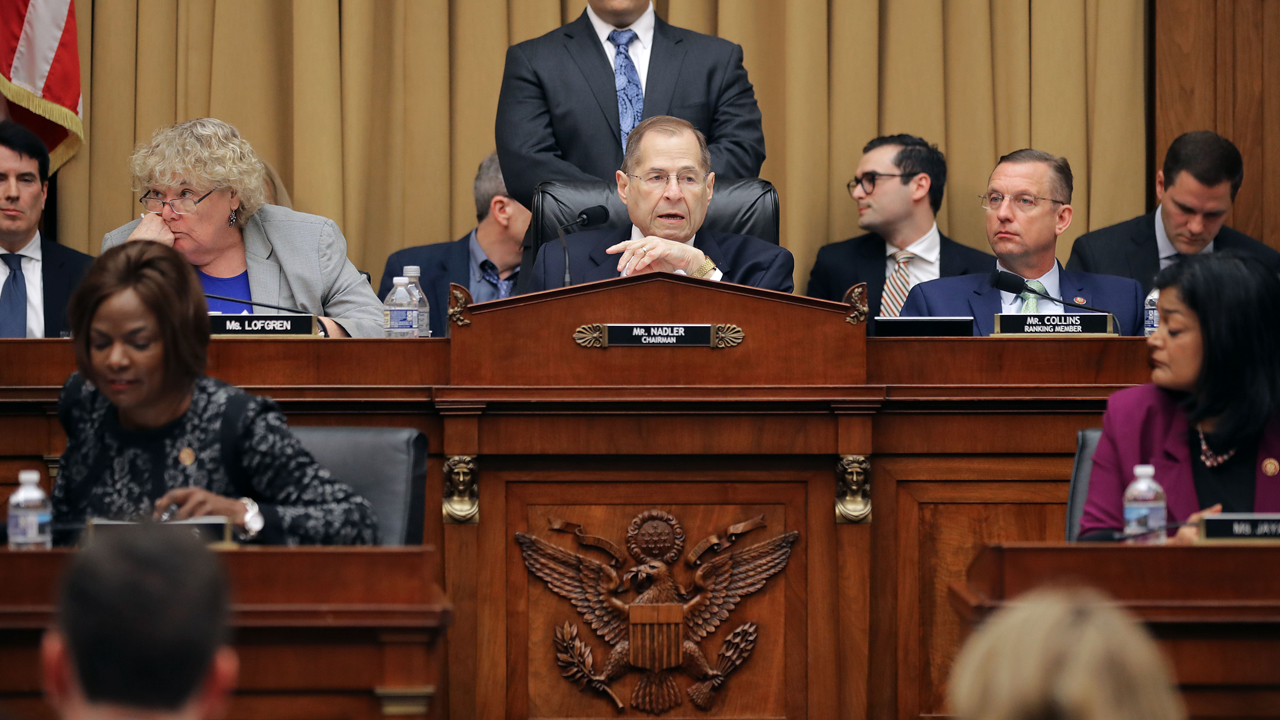 ouse Judiciary Committee Chairman Jerrold Nadler (D-NY) (C) presides over a mark-up hearing during which the committee will vote on whether to hold Attorney General William Barr in contempt of Congress.