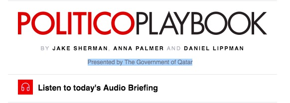 Politico Playbook Sponsored By Qatar