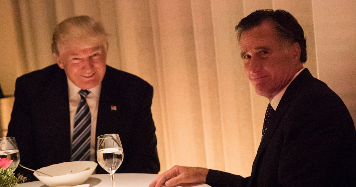 Donald Trump and Mitt Romeny together for dinner in New York.