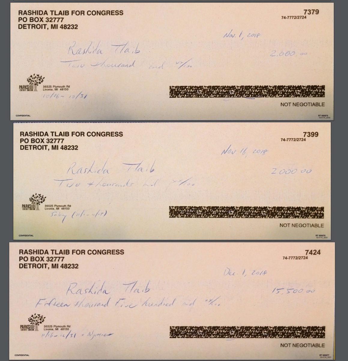 Rep. Rashida Tlaib campaign checks