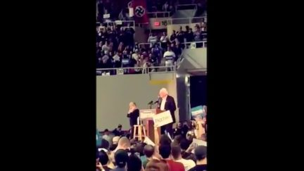 Protestor Unfurls Nazi Flag at Bernie Sanders Rally
