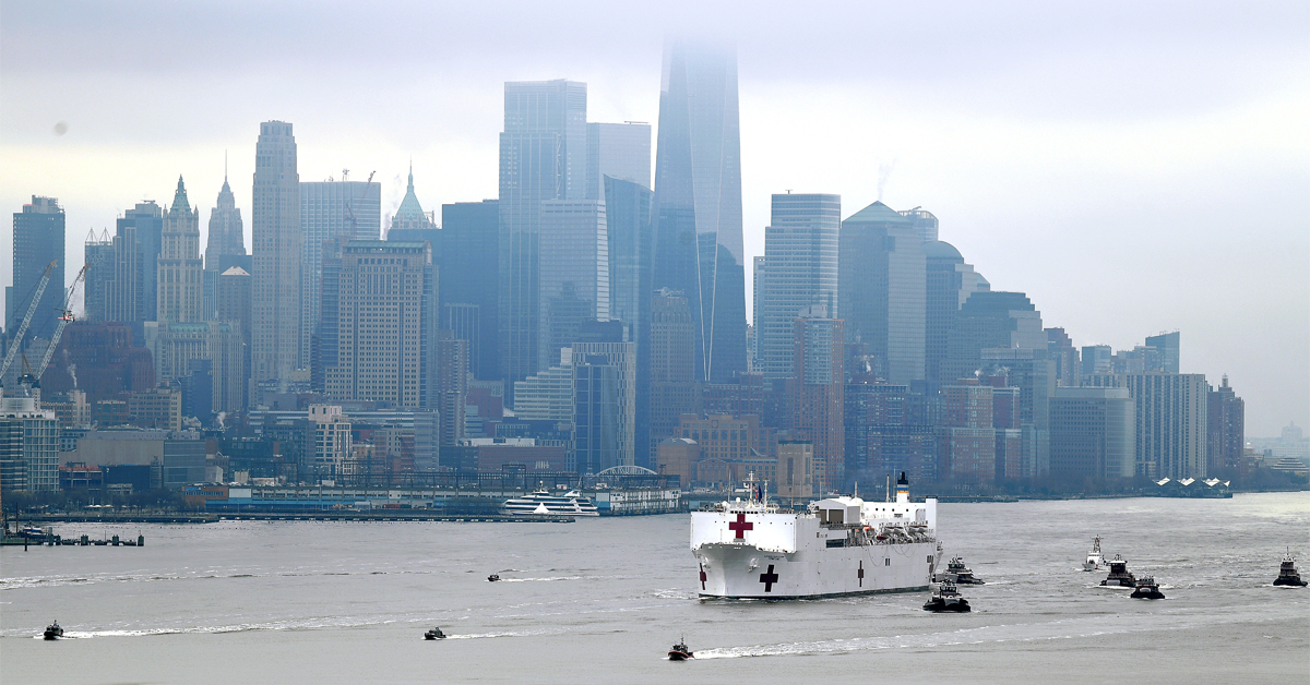 Navy Hospital Ship USNS Comfort travels up the Hudson River as it heads to Pier 90 as the coronavirus pandemic continues to overwhelm medical infrastructure. Docked at Pier 90 on the West Side of Manhattan the hospital ship will provide another thousand beds for non-COVID-19 patients.