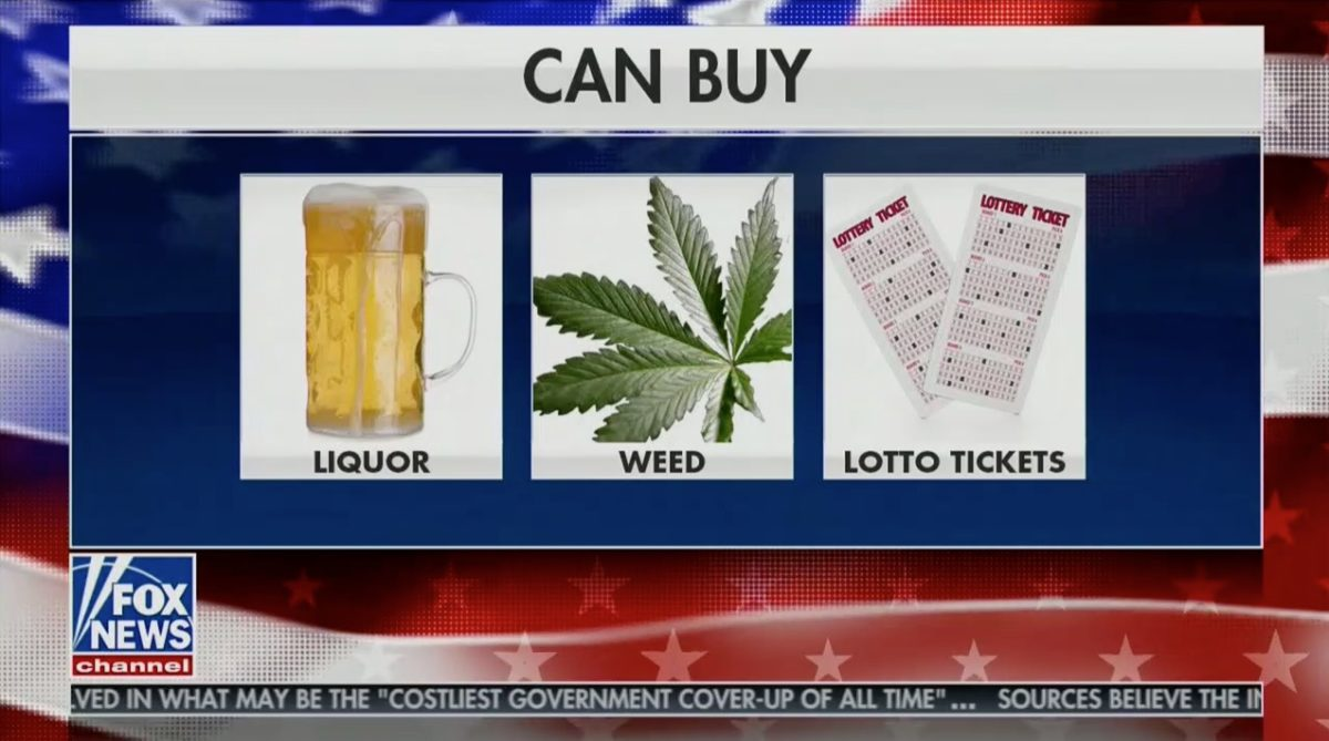 Weed, Liquor, and Lottery Tickets For Sale in Tucker Carlson Graphic