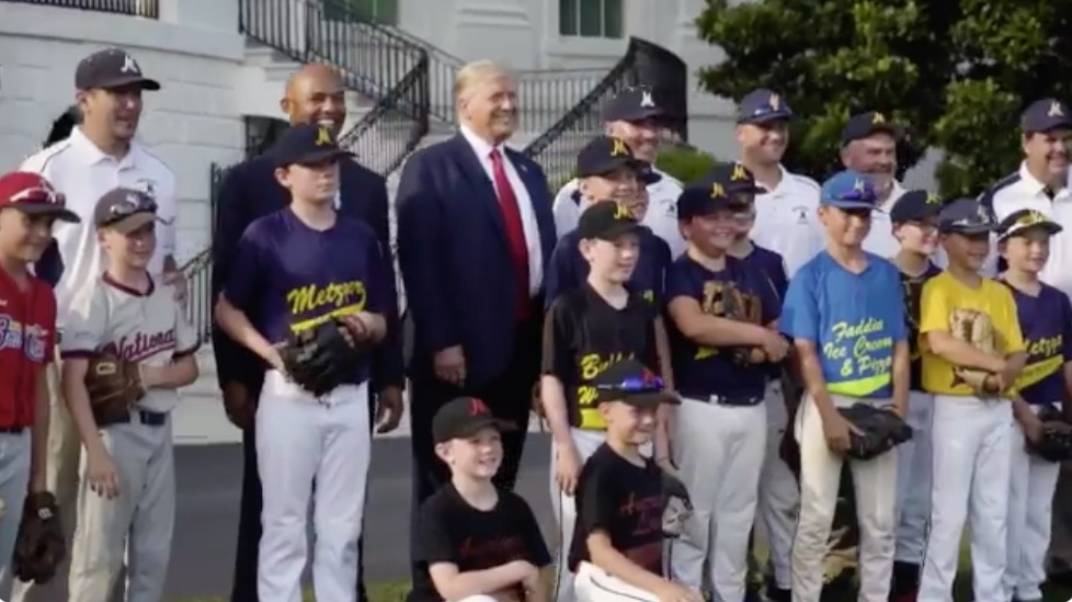 Trump plays catch to mark opening day of baseball season