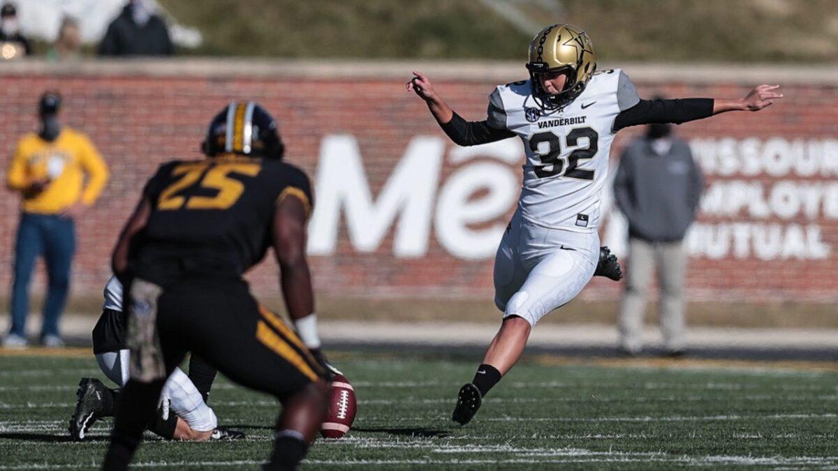 Vanderbilt University soccer star Sarah Fuller will kick for Commodores football team