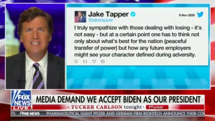 Tucker Carlson Blasts CNN's Unity Video, Equates Jake Tapper to 'Sicilian Mafia' for Urging Trump Team to Consider Conceding