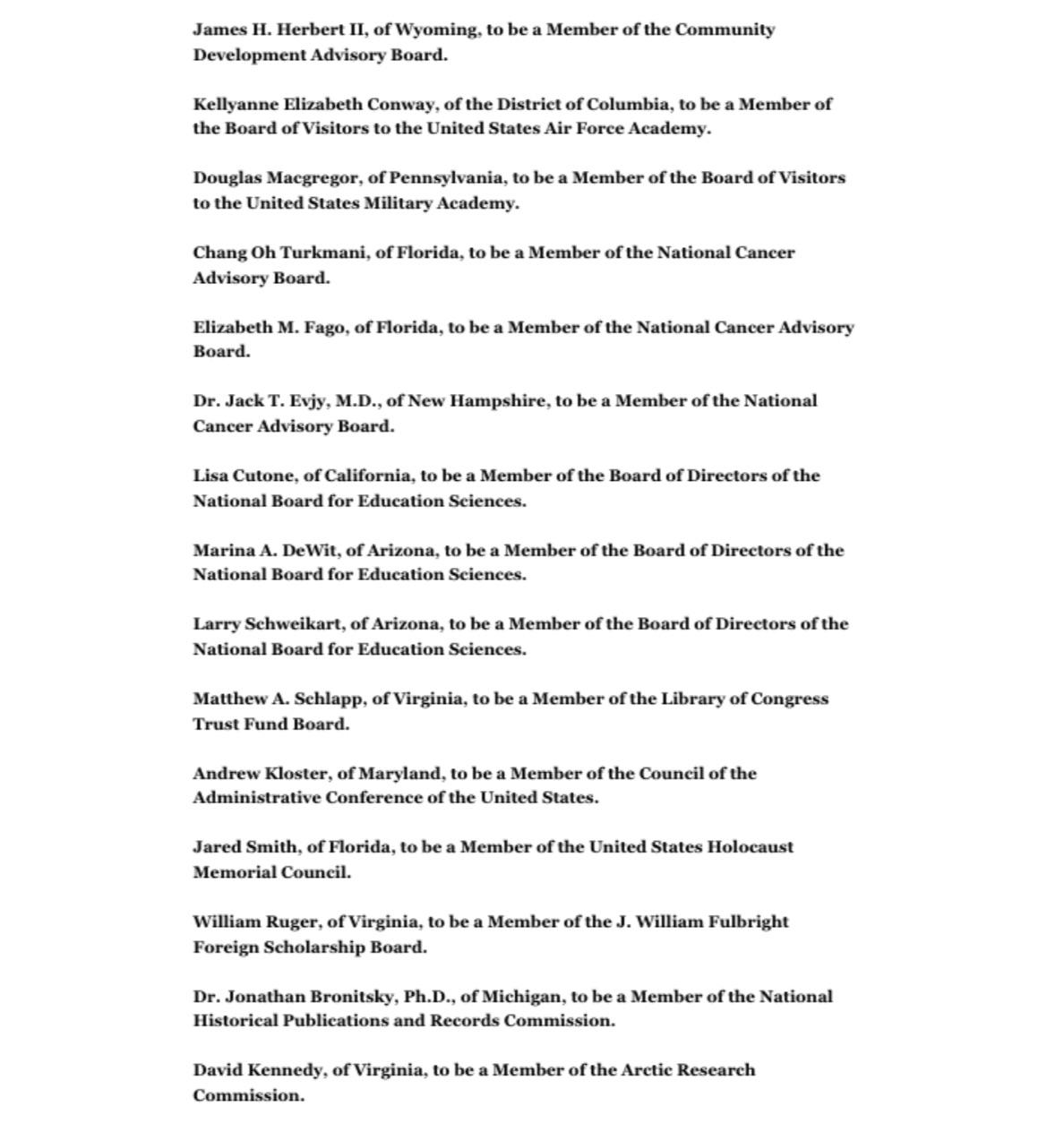 liste d'administrateurs de Trump 2020
