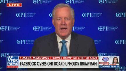 Mark Meadows reacts to Trump facebook ban on Fox News.
