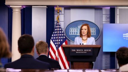 WASHINGTON, DC - MAY 21: White House Press Secretary Jen Psaki speaks during a daily press briefing at the James Brady Press Briefing Room of the White House on May 21, 2021 in Washington, DC. Psaki spoke on the recent ceasefire between Hamas and Israel as well as the White House reopening further to more people. (Photo by Anna Moneymaker/Getty Images)