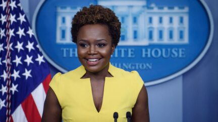 White House Deputy Press Secretary Karine Jean-Pierre arrives for a press briefing in the Brady Briefing Room of the White House in Washington, DC. on May 26, 2021. (Photo by Nicholas Kamm / AFP) (Photo by NICHOLAS KAMM/AFP via Getty Images)