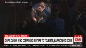 Rep Andrew Clyde barricading congressional door on CNN