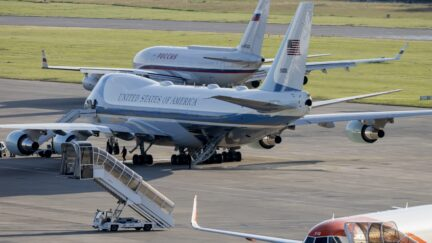 GENEVA, SWITZERLAND - JUNE 16: Air Force One (bottom) stands by as the presidential Ilyushin Il-96, believed to be carrying Russian president Vladimir Putin (top), taxis on the runway at Geneva Airport Cointrin following the US - Russia summit, on June 16, 2021 in Geneva, Switzerland. (Photo by Alessandro della Valle - Pool/Keystone via Getty Images)