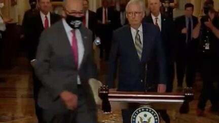 Chuck Schumer Comes From No Where to Beat Mitch McConnell in Race to Press Conference Lectern
