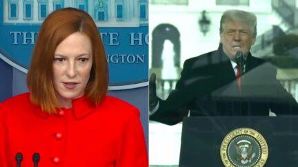 Jen Psaki 9-15 Trump 1-6 split image