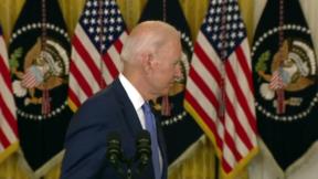 Joe Biden exits podium 9-16
