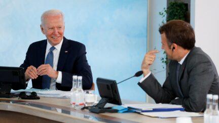 Joe Biden and Emmanuel Macron at the G7