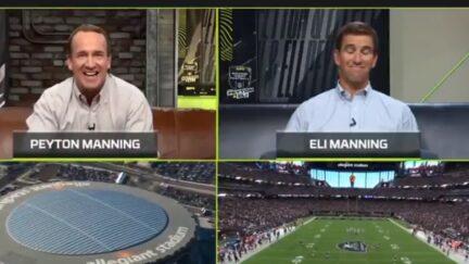 Peyton and Eli Manning laugh at Travis Kelce's blunder on Monday Night Football