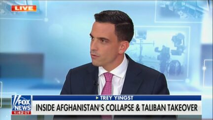 Trey Yingst in Fox News' NY studio discussing reporting from Kabul