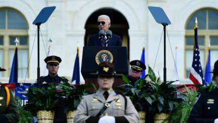 US President Joe Biden speaks during the 40th Annual National Peace Officers Memorial Service at the US Capitol in Washington, DC, on October 16, 2021.