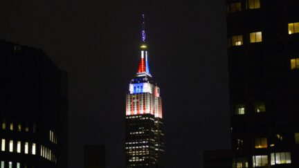 The Empire State Building is illuminated in red, white and blue hosted by CNN for election night November 4, 2014.