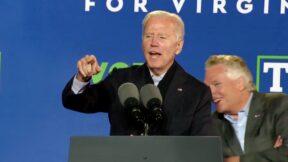 Joe Biden Deals with Hecklers at McAuliffe Rally