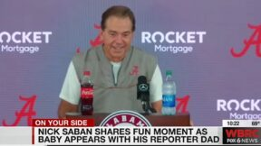Nick Saban has adorable reaction to reporter with a baby